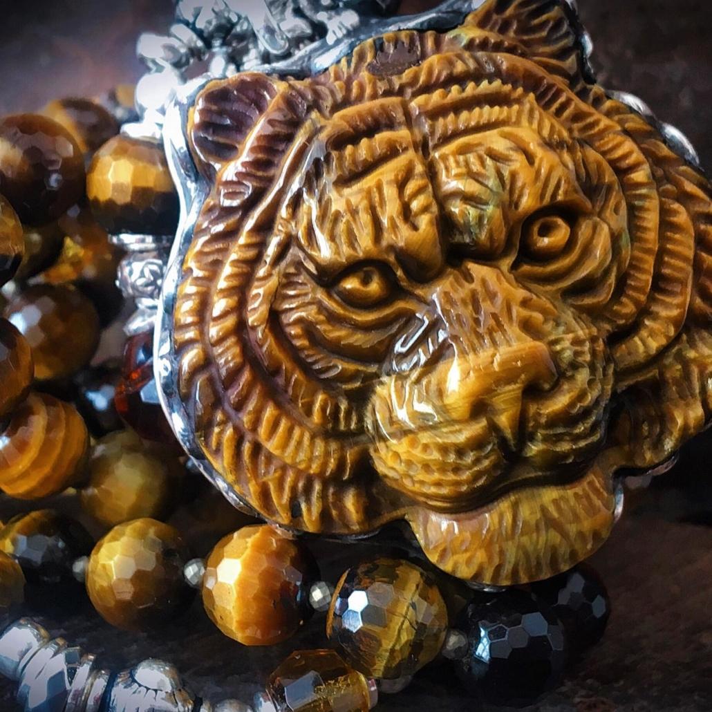 Buddhapearls Tiger Anhänger Kette
