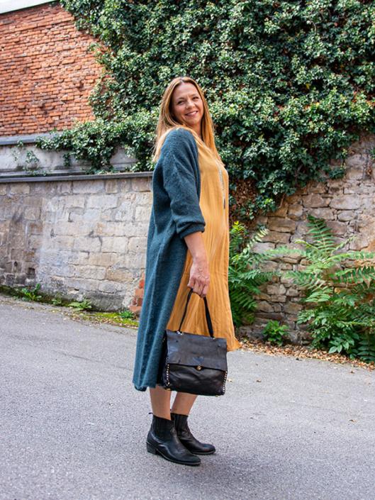 Herbst Kleid mit Strickjacke tragbar Esslingen