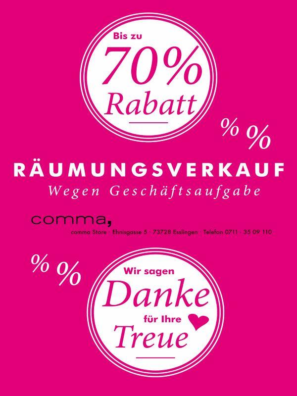 Räumungsverkauf comma Store Esslingen